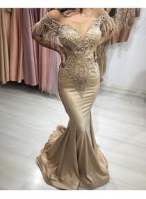 wedding photo - Champagne Abendkleider Lang Günstig