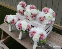 wedding photo - Dusty Rose and Ivory Wedding Bouquet, Wedding Flowers, Bridesmaid Bouquets, Corsage, bridal Flower Package