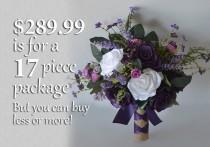 wedding photo - Wedding Bouquet, Bridal Bouquet, Bridesmaid Bouquet, Silk Flower Bouquet, Wedding Flower, purple, plum, lavender, fuchsia, Lily of Angeles