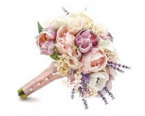 wedding photo - Spring Wedding Bridal or Bridesmaid Bouquet - add a Groom's Boutonniere - White Calla Lily Lavender Pink Peonies White Anemones Lilac