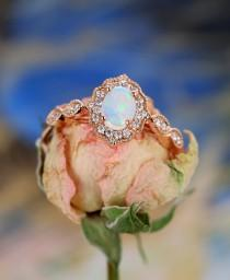 wedding photo - Opal Engagement Ring Vintage engagement ring Rose Gold Diamond Wedding Oval Antique Unique Milgrain Unique Halo Anniversary Gift for Women