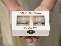 wedding photo - Engraved ring box Personalized wedding box White Ring bearer box, Wedding ring box Glass lid Wood ring box Proposal box Wedding holder