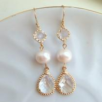 wedding photo - Gold Freshwater Pearl Crystal Earrings - Freshwater Pearl Jewelry - Crystal Bracelet Gold Clear Jewelry - Bridal Jewelry - Wedding Jewelry