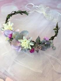wedding photo - Bachelorette Veil - Bride to be floral crown - Bride -Hen Party - Bridal Shower veil - Hen Party Veil lilac Floral crown with veil boho