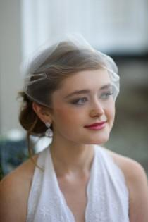 wedding photo - Bridal Birdcage Veil Single Layer Tulle in Matte Ivory or White Easy Fit  Bandeau Style by Fine & Fleurie