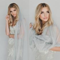wedding photo - English Net Veil, Soft Wedding Veil, Simple Veil, Boho Wedding Veil, Veils for Gray Wedding Dress, Flower Crown Veil, Cathedral Veil 0801 EN