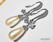 wedding photo - Pearl Bow Bridal Earrings, Swarovski Teardrop Ivory Pearl Silver Earrings, Wedding Pearl Earrings, Bridal Pearl Jewelry Pearl Dangle Earring