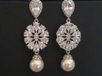 wedding photo - Bridal Earrings, Wedding Earrings, Swarovski White Pearl Cubic Zirconia Earrings, Statement Earrings, Victorian Pearl Earrings Vintage Style