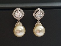 wedding photo - Bridal Pearl Earrings Ivory Drop Pearl CZ Wedding Earrings Swarovski 10mm Pearl Earrings Wedding Pearl Jewelry Bridal Jewelry Pearl Earring