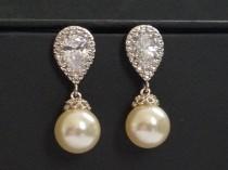 wedding photo - Pearl Bridal Earrings Swarovski 10mm Ivory Pearl Drop CZ Earrings Wedding Pearl Earrings Cubic Zirconia Pearl Earrings Bridal Pearl Jewelry