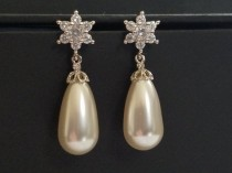 wedding photo - Pearl Bridal Earrings, Swarovski White Pearl Teardrop Earrings, Wedding Pearl Earrings, Bridal Pearl Jewelry, Bridesmaid Pearl Jewelry