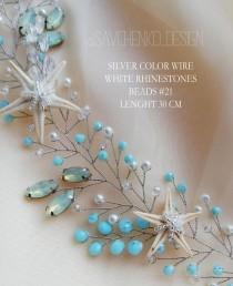 wedding photo - Blue Starfish Hair Vine Beach wedding hair accessories Seashell crown Seashell headband Nautical hair accessories Mermaid tiara for girls