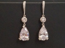 wedding photo - Crystal Bridal Earrings, Cubic Zirconia Chandelier Wedding Earrings, Teardrop Crystal Silver Earrings, Crystal Dangle Earrings, Prom Jewelry