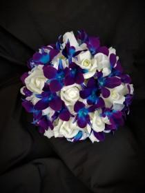 wedding photo - Purple blue galaxy orchid, hydrangea, real touch rose bridal bouquet, artificial flower bouquet, island orchid, singapore orchids