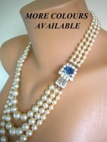 wedding photo - Sapphire and Pearl Necklace, Bridal Pearls, Montana Sapphire, Pearl Necklace, Mother Of The Bride, Bridal Jewelry, Art Deco, Gatsby Wedding