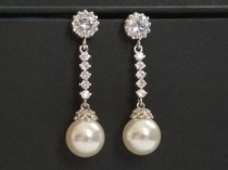 wedding photo - Pearl Bridal Earrings, Swarovski White Pearl Silver Earrings, Wedding Pearl CZ Earrings, Pearl Bridal Jewelry, Pearl Chandelier Earrings