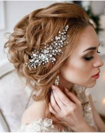 wedding photo - Pearl Bridal hair vine Wedding hair accessories Rose gold bridal hair comb Crystal Wedding hair comb Wedding hair vine Bridal hair accessory