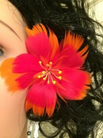 wedding photo - Orange & Red Hibiscus Feather Flower Ear Pick,Orange Hibiscus Feather Flower,Hawaiian Wear,Aloha Wear,Tropical Hibiscus,Exotic Hibiscus