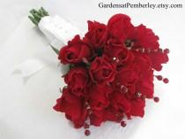 wedding photo - Red Rose and Crystal Bridal Bouquet