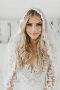 wedding photo - Fingertip Lace Veil, Bridal Veils, Fingertip Length Lace Veil, Wedding Veil, Catholic Mantilla Veil, Lace Edge Veil, Single Layer Veil, 1605