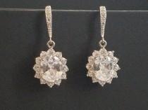 wedding photo - Bridal Earrings, Crystal Wedding Earrings, Cubic Zirconia Earrings, Halo CZ Earrings, Wedding Oval Crystal Earrings, Bridal Crystal Jewelry