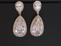 wedding photo - Cubic Zirconia Bridal Earrings, Teardrop Crystal Wedding Earrings, CZ Chandelier Earrings, Bridal Crystal Earrings, Prom Crystal Earrings