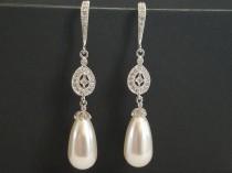 wedding photo - White Teardrop Pearl Chandelier Earrings, Swarovski Pearl Dangle Wedding Earrings, Pearl Wedding Earrings, White Pearl Silver CZ Earrings
