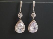 wedding photo - Cubic Zirconia Bridal Earrings, Teardrop Crystal Wedding Earrings, CZ Chandelier Dangle Earrings, Sparkly Crystal Halo Earrings Prom Jewelry
