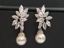 wedding photo - White Pearl Bridal Earrings, Swarovski 10mm Pearl Earrings, Pearl Cubic Zirconia Earring Studs, Wedding Pearl Bridal Jewelry, Prom Earrings