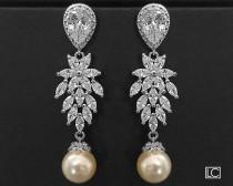 wedding photo - Wedding Cubic Zirconia Pearl Chandelier Earrings, Swarovski Ivory Pearl Bridal Earrings, Vintage Style Earrings, Victorian Crystal Earrings