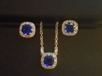 wedding photo - Wedding Dainty Blue Jewelry Set, Sapphire Silver Earrings&Necklace Set, Bridal Jewelry Set, Blue Halo Earrings and Necklace Set Prom Jewelry