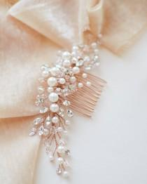 wedding photo - Gold Pearl Bridal Comb, Floral Wedding Crystal & Rhinestone Comb, Bridal Headpiece, Gold Wedding Comb, Pearl Floral Bridal Comb ~TC-2293