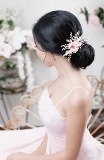 wedding photo - Blush Bridal Headpiece Rose Gold Wedding Hair comb Blush Bridal Flower comb Rose Gold Floral Wedding Headband Blush bridal hair piece