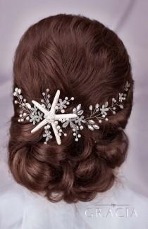 wedding photo - Starfish hair vine Beach wedding hair accessories Starfish crown Beach Bridal Headband Destination wedding Mermaid hairpiece Beach headband