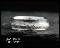 wedding photo - Sterling silver spinner ring, floral pattern. Fidget ring, meditation ring. Wedding band. Made to order at your size.