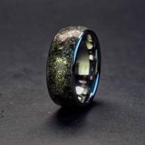 wedding photo - Stegosaurus & Pyrite Wedding Band, Dinosaur Bone Fossil Ring