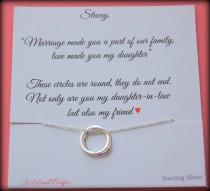 wedding photo - Gift for new daughter in law, From mother in law, daughter in law POEM, wedding gift, birthday gift, connecting circles necklace