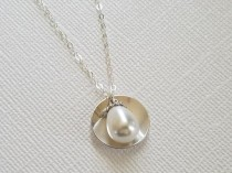wedding photo - Pearl Sterling Silver Necklace, White Pearl Wedding Necklace, Beach Necklace, Wedding Jewelry, Bridal Jewelry, Teardrop Pearl Charm Necklace