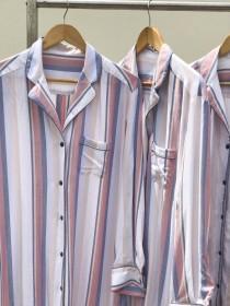 wedding photo - Pastel Stripes Shirt, Holiday pajamas,  pj sets, Bridesmaid Sets, Bridesmaids shirts, bridesmaid pajamas, wedding pajamas, pajama set women