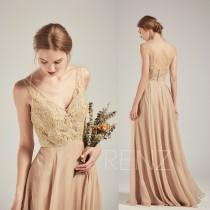 wedding photo - Bridesmaid Dress Champagne Chiffon Dress,Wedding Dress,V Neck Beaded  Maxi Dress,Sleeveless Party Dress,Illusion Lace Back Prom Dress(L478)