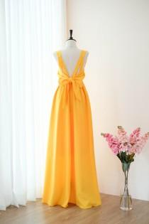 wedding photo - Gold yellow dress Long Bridesmaid dress Wedding Dress Long Prom dress Party dress Cocktail dress Maxi dress Evening Gown