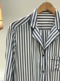 wedding photo - BLACK&WHITE Stripes Shirt,  holiday pajamas,  pj sets, Bridesmaids shirts, Bride Squad, Bride Tribe, Sleep Shirt Set, Button Down