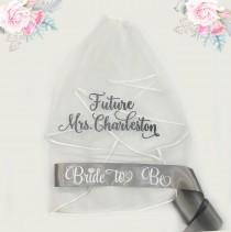 wedding photo - Bachelorette Veil and Sash, Future Mrs Veil, Personalized Veil, Bride to Be Sash, Bachelorette Party Veil, Bridal Shower Veil and Sash
