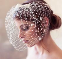 wedding photo - Ivory dotted birdcage veil, polka dot veil, polka dot birdcage veil, bow veil, cage veil, wedding veil, blusher veil, chenille polka dots