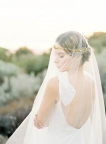 "wedding photo - Gold floral hair wreath veil with pearls ""Callan"""