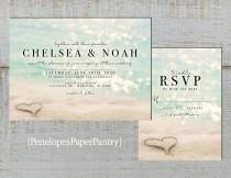 wedding photo - Romantic Beach Wedding Invitation,Heart in the Sand,Sandy Beach,Sunset,Destination Wedding,Hawaii Wedding,Shimmery,Printed Invitation,or Set