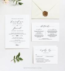 wedding photo - Editable Wedding Invitation Set Template, INSTANT DOWNLOAD, 100% Editable, Minimalist Invite, RSVP & Detail, Printable, Templett #037B