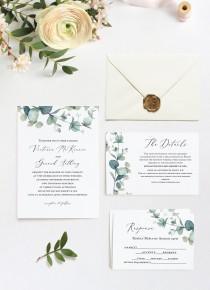wedding photo - SALE!!! - Greenery Wedding Invitation, Blush Greenery Wedding Invitation Template, Printable Wedding Invitation, Instant Download,PDF kit6