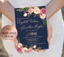 wedding photo - Blush Navy Rose Gold Wedding Invitation Template Set - Floral Watercolor Invite-DIY Printable Invitations-PDF-Download Instantly