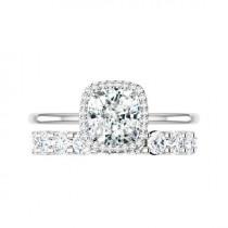 wedding photo - 2 Carat Crushed Ice Cushion Moissanite, Diamond Halo Solitaire Engagement Ring & 3mm Diamond Eternity Band Wedding Set, Raven Fine Jewelers
